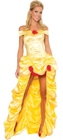 Ladies Rouched Golden Princess Fancy Dress Costume