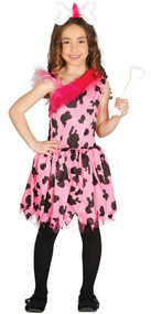 Girls Deluxe Pink Cavegirl Fancy Dress Costume