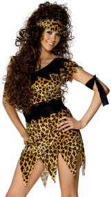 Ladies Primitive Cavewoman Fancy Dress Costume