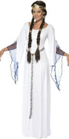 Ladies White Medieval Maiden Fancy Dress Costume