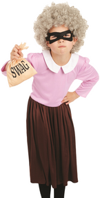 Girls Burglar Granny Fancy Dress Costume
