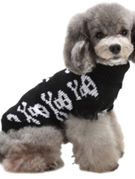 Dog Black Skull Print Sweater