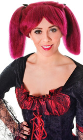 Ladies Burgundy Pigtail Fancy Dress Wig