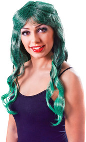 Ladies Green Long Mermaid Fancy Dress Wig