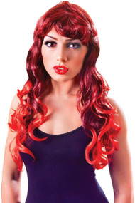 Ladies Red Long Mermaid Fancy Dress Wig