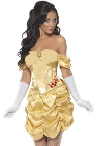 Ladies Sexy Golden Princess Fancy Dress Costume