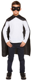 Child's Black Superhero Cape and Mask Fancy Dress Costume Kit