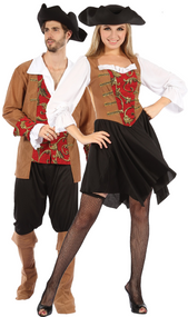 Couples Red Pirate Fancy Dress Costume