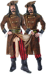 Mens 6 Piece Captain Long Fellow Stag Night Fancy Dress