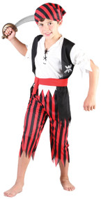 Boys 4 Piece Pirate Fancy Dress Costume