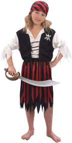 Girls 4 Piece Pirate Fancy Dress Costume