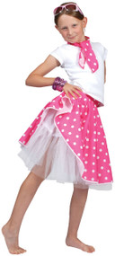 Girls 50's Pink Rock and Roll Skirt Fancy Dress Costume