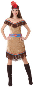 Ladies Deluxe Indian Squaw Fancy Dress Costume