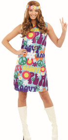 Ladies Groovy 60's Pop Art Hippy Fancy Dress Costume