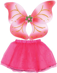 Girls Pink Fairy Wings & Tutu Fancy Dress Costume Kit