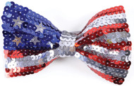 USA  Flag Sequin Bow Tie