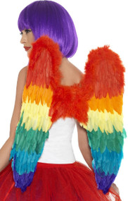 Adults Rainbow Feathered Fancy Dress Wings