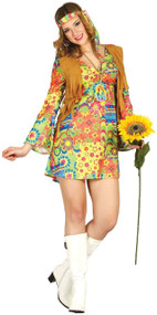 Ladies 1970's Flower Power Hippie Fancy Dress Costume