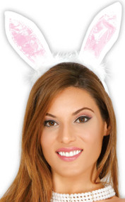 Ladies White Rabbit Fancy Dress Ears