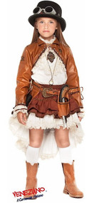 Girls Steampunk Fancy Dress Costume