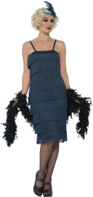Ladies 1920s Teal Flapper Fancy Dress Costume