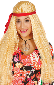 Ladies Long Blonde Hippy Fancy Dress Wig