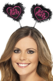 Ladies Fluffy Black Hen Night Bopper Hairband