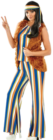 Ladies 60s Rock Star Hippie Fancy Dress Costume