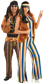 Couples 60s Rock Star Hippie Fancy Dress Costume