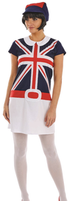 Ladies 60s Mod Girls Fancy Dress Costume