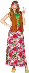 Ladies Floral Hippy Fancy Dress Costume