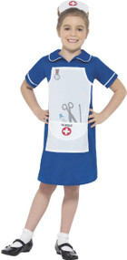 Girls Blue Nurse Fancy Dress Costume