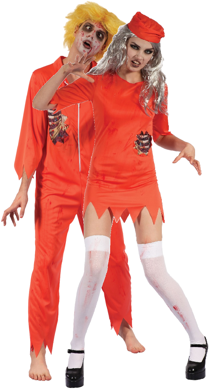 05eb5d6682f Couples Zombie Prisoner Fancy Dress Costumes