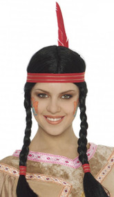 Ladies Native Indian Braided Fancy Dress Wig