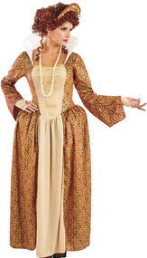 Ladies Tudor Queen Fancy Dress Costume