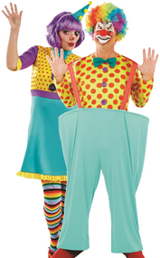 Couples Spotty Clown Fancy Dress Costume