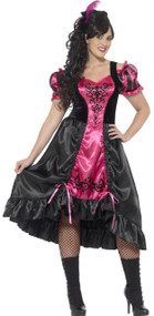 Ladies Curvy Saloon Girl Fancy Dress Costume