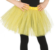 Girls Bright Yellow Glittery Fancy Dress Tutu