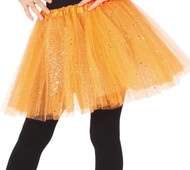 Girls Bright Orange Glittery Fancy Dress Tutu