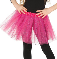 Girls Bright Pink Glittery Fancy Dress Tutu
