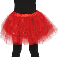 Girls Bright Red Glittery Fancy Dress Tutu
