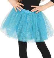 Girls Bright Blue Glittery Fancy Dress Tutu