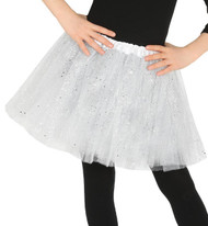 Girls White Glittery Fancy Dress Tutu