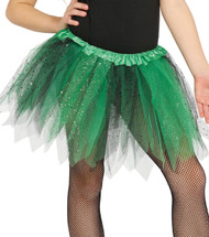 Girls Green & Black Glittery Fancy Dress Tutu