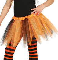Girls Orange & Black Glittery Fancy Dress Tutu