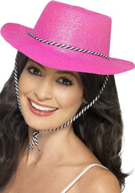 Ladies Pink Glittery Cowboy Fancy Dress Hat