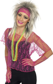 Ladies Pink Lace 80's Fancy Dress Costume Kit