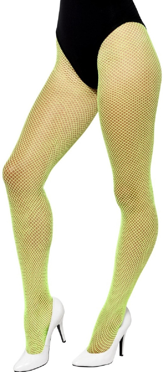 84454c000 Ladies Neon Green Fishnet Tights - Fancy Me Limited