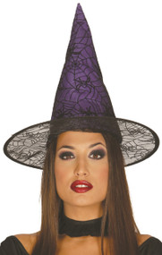 Ladies Purple Spiderweb Witch Hat
