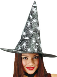 Ladies Black & White Spiderweb Witch Hat